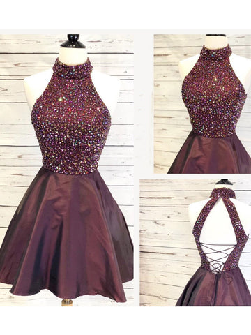 A-line High Neck Sparkly Homecoming Dress Burgundy Short Prom Dresses Homecoming Dresses|Amyprom
