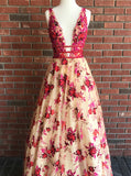 2018 A-line Prom Dresses Long V neck Red Floral Prom Dress Evening Dresses AMY169