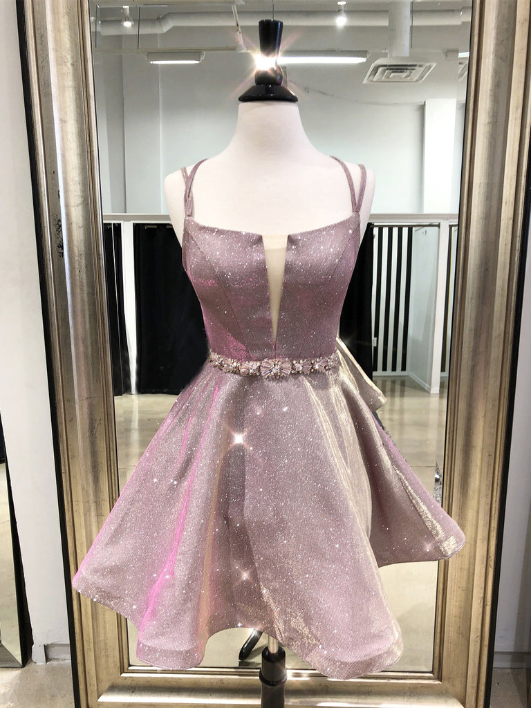 A-line Straps Pink Homecoming Dress Sparkly Cute Short Prom Dresses|Amyprom