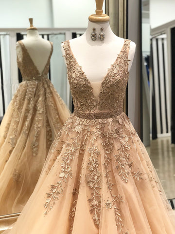 2018 A-line Scoop Prom Dresses Custom Applique Tulle Long Prom Dresses Evening Dress|Amyprom