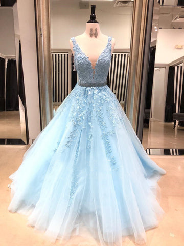 A-line Straps Prom Dress Ligh Blue Floor Length Applique Prom Dresses Evening Dress|Amyprom