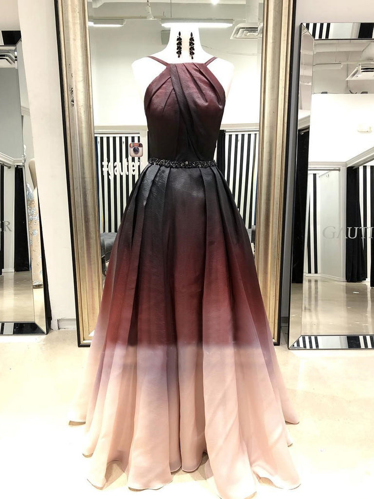 A-line Spaghetti Straps Ombre Prom Dress Cheap Vintage Prom Dresses Long Evening Dress|Amyprom