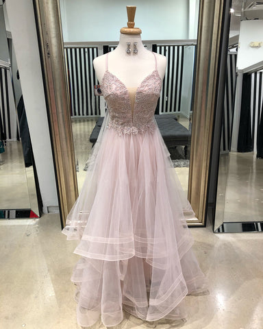 2018 A-line Spaghetti Straps Prom Dresses Custom Long Prom Dresses With Lace Evening Dress|Amyprom