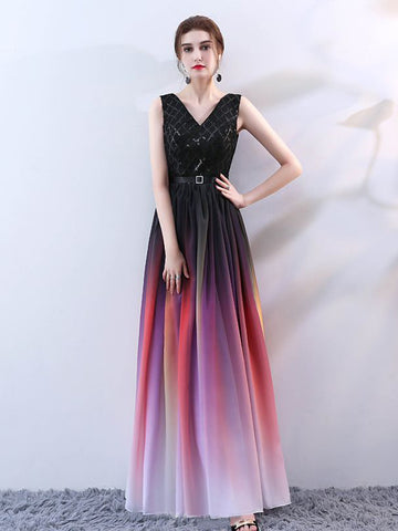 2018 A-line V neck Ombre Prom Dresses Custom Long Prom Dresses Evening Dress|Amyprom