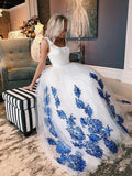 2018 A-line Scoop White Prom Dresses With Applique Long Prom Dresses Evening Dress AMY1712