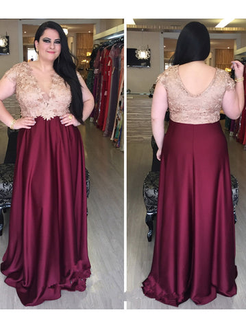 2018 A-line V neck Burgundy Plus Size Prom Dresses Custom Long Prom Dresses Evening Dress|Amyprom