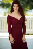 2018 Trumpet/Mermaid Off-the-shoulder Burgundy Prom Dresses Custom Long Prom Dresses Evening Dress|Amyprom