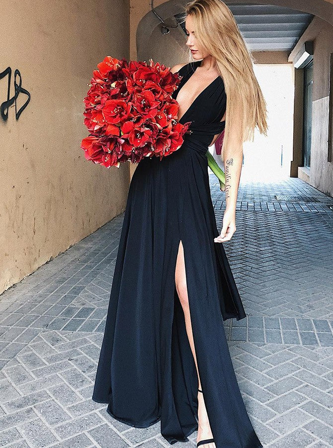 A-line Straps Black Long Prom Dresses With Silt Custom Long Prom Dresses Evening Dress|Amyprom