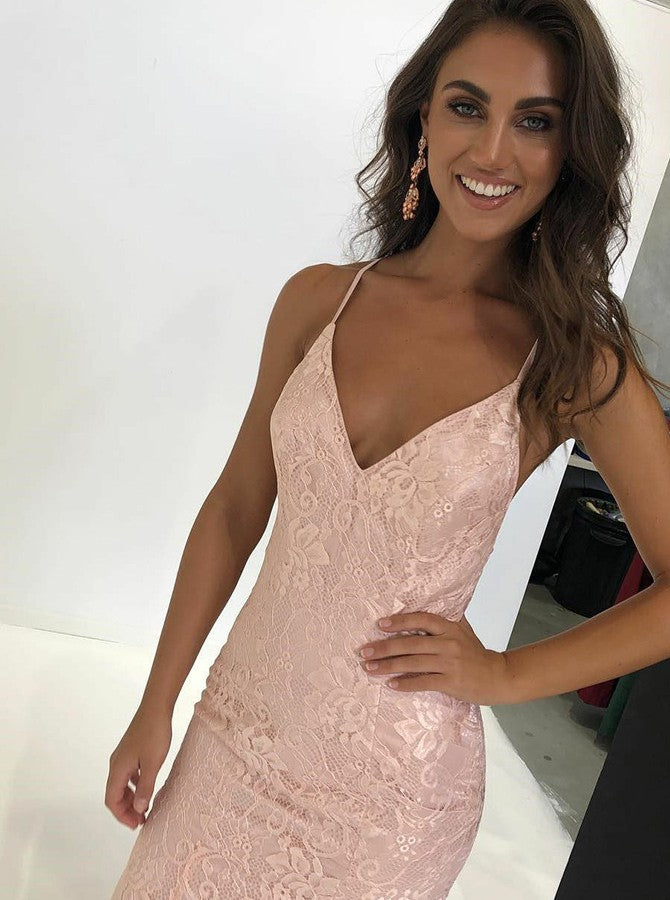 aeeb3489e87 Trumpet Mermaid Spaghetti Straps Pink Sexy Long Prom Dresses With Lace  Backless Long Prom Dresses