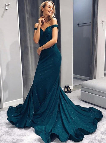 Trumpet/Mermaid Off-the-shoulder Long Prom Dresses Dark Green Long Prom Dresses Evening Dress|Amyprom