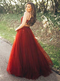 A-line Spaghetti Straps Red Prom Dresses Lace Long Prom Dresses Evening Dress|Amyprom
