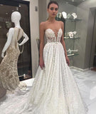A-line Scoop Lace Princess Sweep/Brush Train Wedding Dress|Amyprom