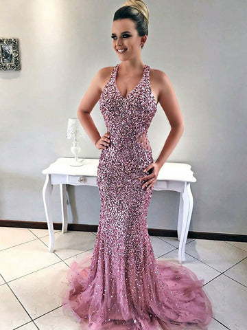 2018 Pink Prom Dresses Long Straps Beadeding Mermaid Prom Dress Evening Dresses AMY172