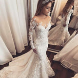Trumpet/Mermaid Ivory Lace Wedding Dress Sweep/Brush Train Scoop Long Sleeve Wedding Dress|Amyprom