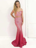 Two Pieces Ombre Prom Dresses With Sequins Mermaid Long Prom Dresses Evening Dress|Amyprom