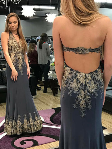 2018 New Arrival Halter Prom Dresses With Applique Long Prom Dresses Evening Dresses|Amyprom