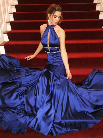 Trumpet/Mermaid Haltr Prom Dress Royal Blue Prom Dresses Long Evening Dress|Amyprom