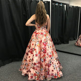 A-line Spaghetti Straps Prom Dress Floral Organza Prom Dresses Long Evening Dress|Amyprom