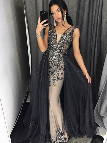 Trumpet/Mermaid Straps Black Prom Dress Sparkly Prom Dresses Long Evening Dress|Amyprom
