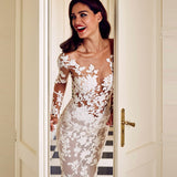 Trumpet/Mermaid White Wedding Dress Sweep/Brush Train Bateau Long Sleeve Wedding Dress|Amyprom