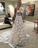 A-line Ivory Lace Wedding Dress Sweep/Brush Train Spaghetti Straps Wedding Dress AMY1129