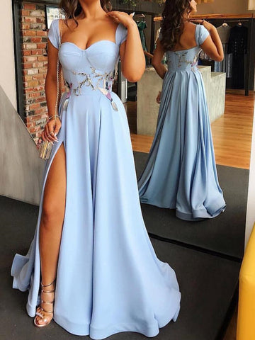 2018 A-line Straps Prom Dresses With Silt Blue Long Prom Dresses Evening Dresses|Amyprom