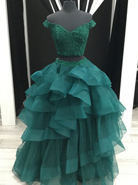 Chic Two Pieces Dark Green Prom Dress Off-the-shoulder Tulle Long Prom Dress with Applique|Amyprom