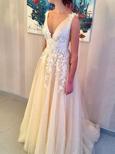 2018 A-line V neck Prom Dresses With Applique Long Prom Dresses Evening Dresses|Amyprom