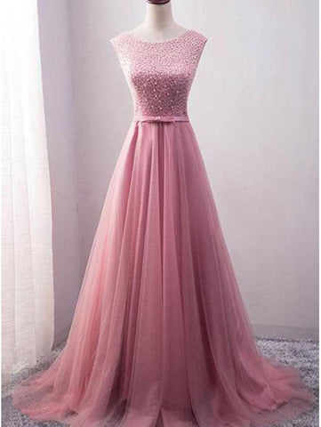 2018 A-line Scoop Prom Dresses Pink Long Prom Dresses Evening Dresses|Amyprom