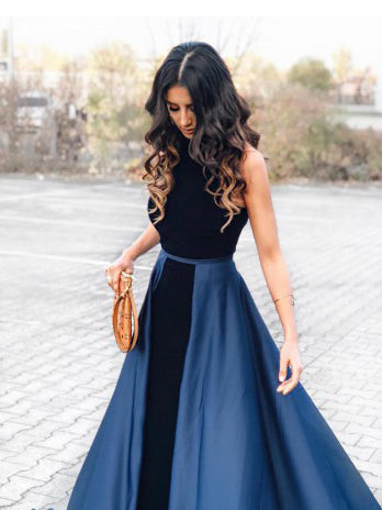 2018 A-line Scoop Prom Dresses Simple Cheap Long Prom Dresses Evening Dresses|Amyprom
