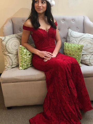 2018 Trumpet/Mermaid Off-the-shoulder Prom Dresses With Lace Red Long Prom Dresses Evening Dresses|Amyprom