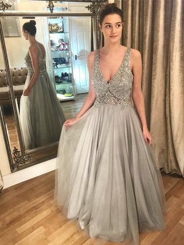 2018 A-line Deep V Prom Dresses With Beading Silver Long Prom Dresses Evening Dresses|Amyprom