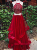Chic Two Pieces A-line Prom Dresses Red Spaghetti Straps Long Prom Dresses With Beading Evening Dresses|Amyprom