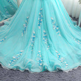 2018 Chic A-line Scoop Prom Dresses With Applique Blue Long Prom Dresses Ball Gowns Evening Dresses|Amyprom