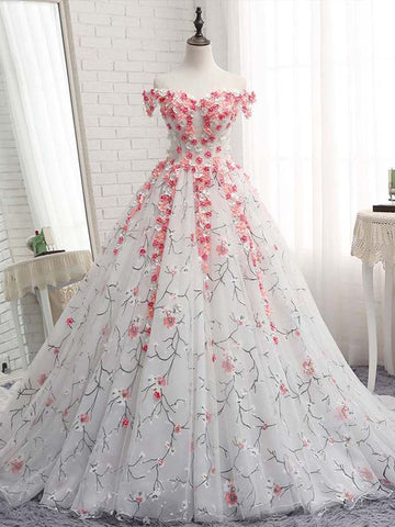 Ball Gowns Off-the-shoulder Prom Dresses With Applique Evening Gowns Long Prom Dresses Evening Dresses|Amyprom