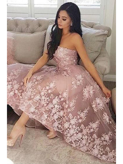 2018 A-line Strapless Prom Dresses With Lace Pink Asymmetrical Prom Dresses Evening Dresses|Amyprom