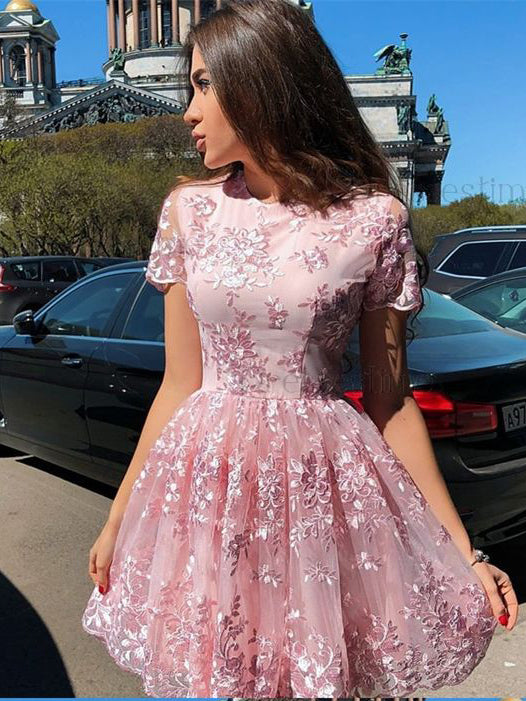 A-line Scoop Short Prom Dress With Lace Short Sleeve Pink Homecoming Dresses|Amyprom