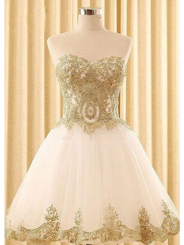 A-line Sweetheart Short Prom Dress With Lace Gold Homecoming Dresses|Amyprom
