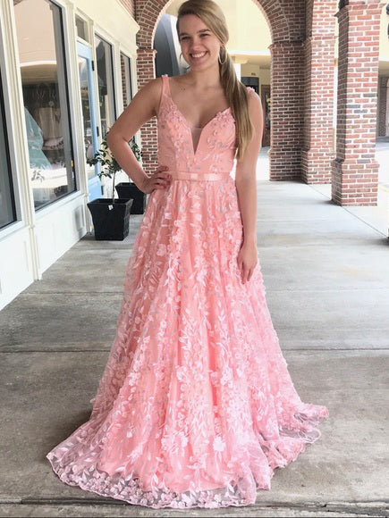 2018 Chic A-line Straps Prom Dresses With Applique Pink Long Prom Dresses Evening Dresses|Amyprom