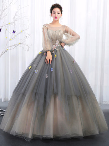 Ball Gowns Bateau Prom Dresses With Applique Long Sleeve Evening Gowns Long Prom Dresses Evening Dresses|Amyprom