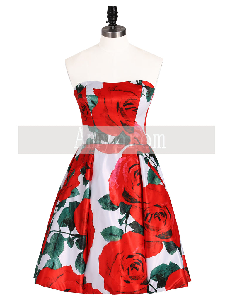 A-line Strapless Red Short Prom Dress Print Floral Homecoming Dresses|Amyprom