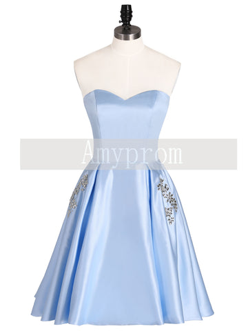 A-line Sweetheart Light Blue Short Prom Dress With Beading Homecoming Dresses|Amyprom