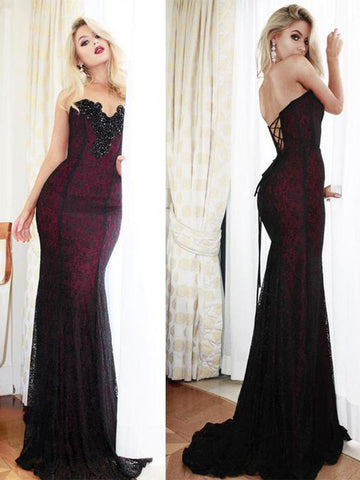 Chic Trumpet/Mermaid Sweetheart Prom Dress Lace long Prom Dress Evening Dresses AMY1781