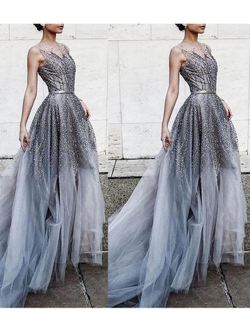 Chic Aline Scoop Silver Prom Dress With Beading Long Prom Dress Evening Dresses|Amyprom