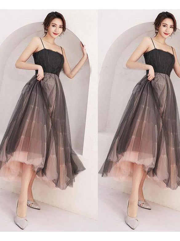 A-line Spaghetti Straps Prom Dress Black Tea Length Prom Dresses Evening Dress AMY1783