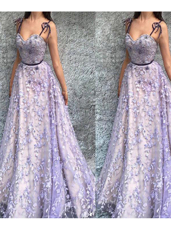 A-line Spaghetti Straps Prom Dress Lace Floor Length Prom Dresses Evening Dress AMY1784