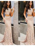 Trumpet/Mermaid Scoop Two Pieces Prom Dress Floor Length Lace Prom Dresses Evening Dress AMY1785