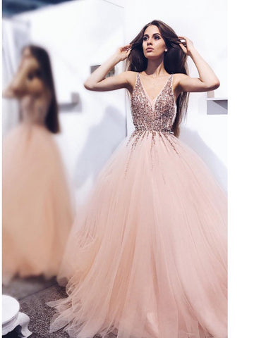 A-line V neck Pink Prom Dress Floor Length With Beading Prom Dresses Evening Dress AMY1788