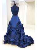 Two Pieces Royal Blue Prom Dresses With Beads and Sequin Blue Evening Gowns Long Prom Dresses Evening Dresses|Amyprom