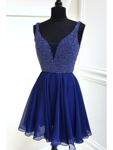A-line Cute Royal Blue Short Prom Dress Straps Homecoming Dresses|Amyprom
